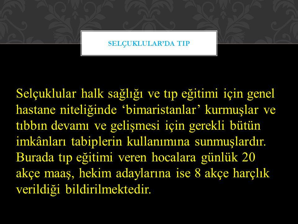 Reisü'l-Etıbba: Tıp teşkilatının en tepesinde bizzat Selçuklu Sultanına bağlı olarak çalışan ve günümüzdeki Sağlık Bakanı pozisyonundaki 'Reisü'l-Etıbba' bulunurdu.