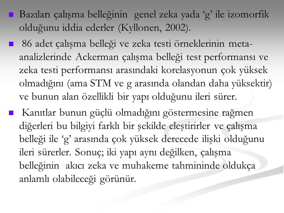 Bazıları çalışma belleğinin genel zeka yada 'g' ile izomorfik olduğunu iddia ederler (Kyllonen, 2002). 86 adet çalışma belleği ve zeka testi örnekleri