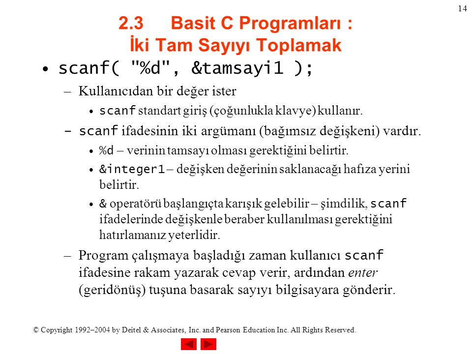 © Copyright 1992–2004 by Deitel & Associates, Inc. and Pearson Education Inc. All Rights Reserved. 14 2.3 Basit C Programları : İki Tam Sayıyı Toplama