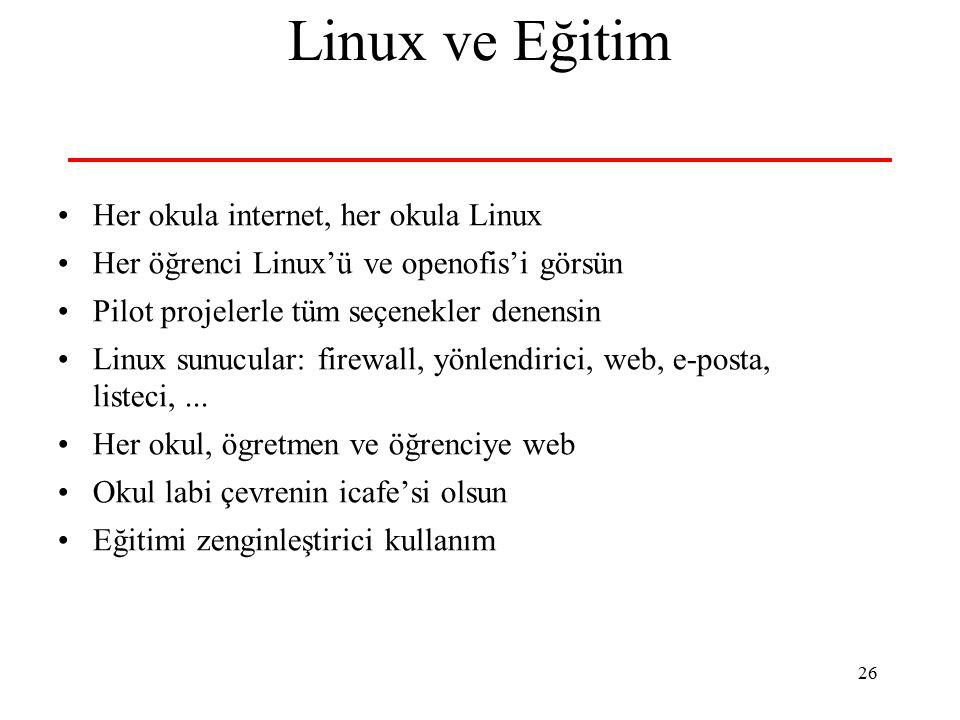 26 Linux ve Eğitim Her okula internet, her okula Linux Her öğrenci Linux'ü ve openofis'i görsün Pilot projelerle tüm seçenekler denensin Linux sunucular: firewall, yönlendirici, web, e-posta, listeci,...