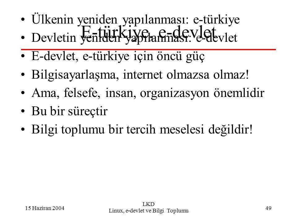 15 Haziran 2004 LKD Linux, e-devlet ve Bilgi Toplumu 49 E-türkiye, e-devlet Ülkenin yeniden yapılanması: e-türkiye Devletin yeniden yapılanması: e-devlet E-devlet, e-türkiye için öncü güç Bilgisayarlaşma, internet olmazsa olmaz.
