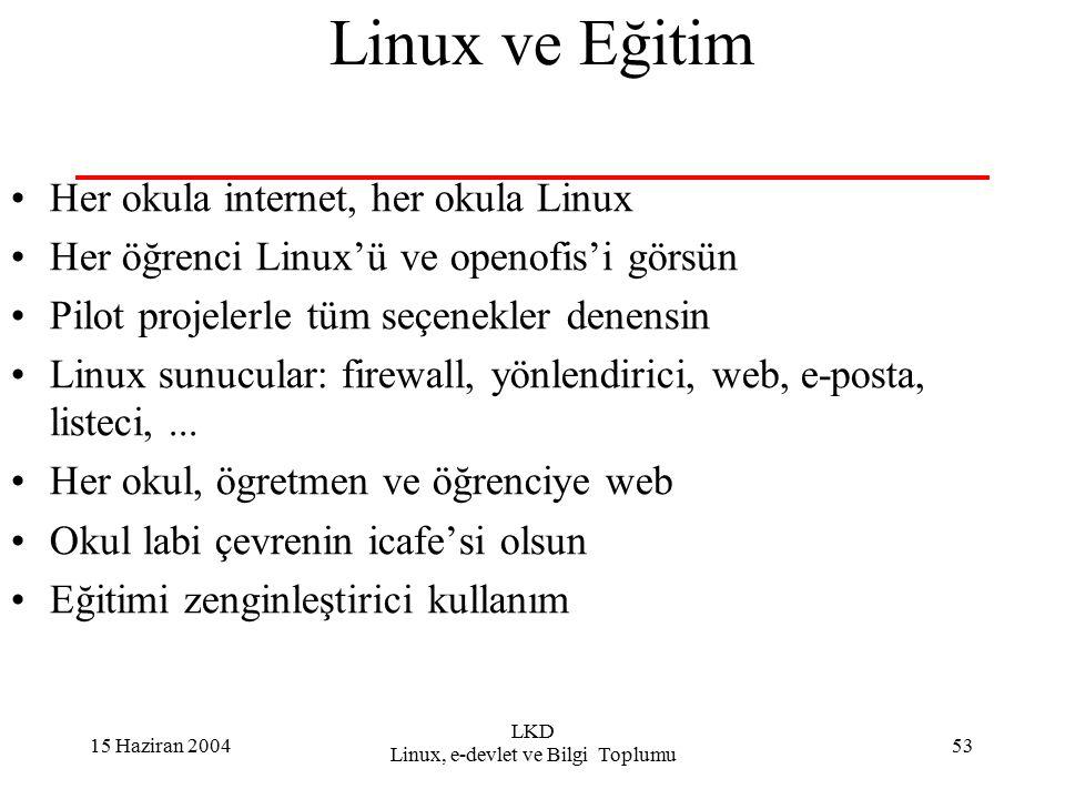 15 Haziran 2004 LKD Linux, e-devlet ve Bilgi Toplumu 53 Linux ve Eğitim Her okula internet, her okula Linux Her öğrenci Linux'ü ve openofis'i görsün Pilot projelerle tüm seçenekler denensin Linux sunucular: firewall, yönlendirici, web, e-posta, listeci,...
