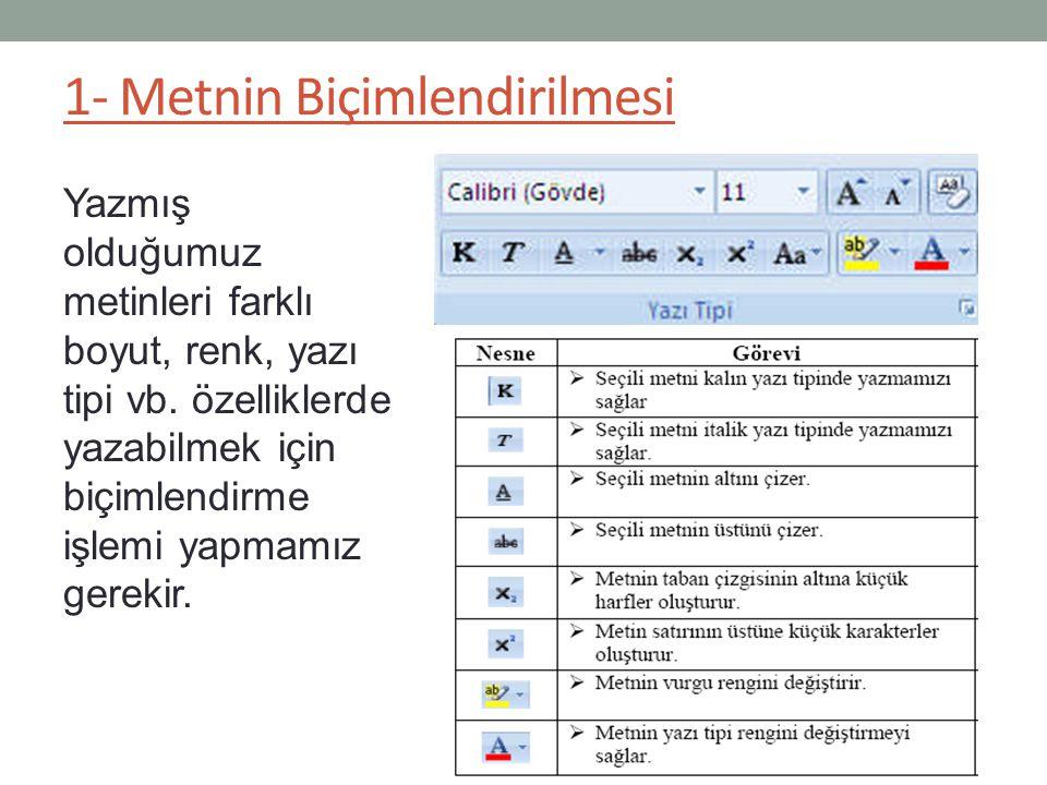 1- Metnin Biçimlendirilmesi Yazmış olduğumuz metinleri farklı boyut, renk, yazı tipi vb. özelliklerde yazabilmek için biçimlendirme işlemi yapmamız ge