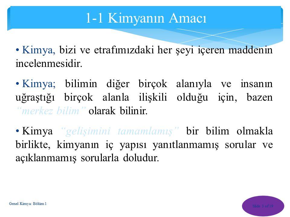 Hacim Slide 23 of 19 Genel Kimya: Bölüm 1