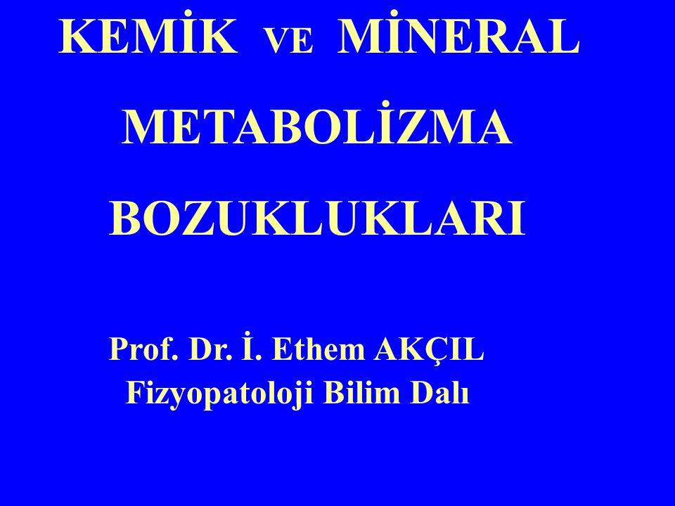 KEMİK VE MİNERAL METABOLİZMA BOZUKLUKLARI Prof. Dr. İ. Ethem AKÇIL Fizyopatoloji Bilim Dalı
