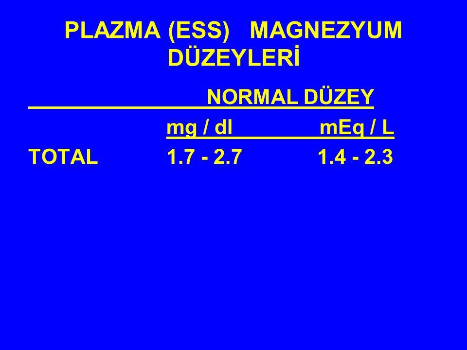 PLAZMA (ESS) MAGNEZYUM DÜZEYLERİ NORMAL DÜZEY mg / dl mEq / L TOTAL 1.7 - 2.7 1.4 - 2.3