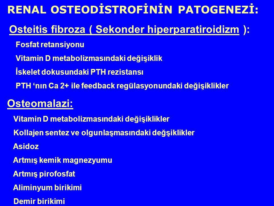 RENAL OSTEODİSTROFİNİN PATOGENEZİ: Osteitis fibroza ( Sekonder hiperparatiroidizm ): Fosfat retansiyonu Vitamin D metabolizmasındaki değişiklik İskele