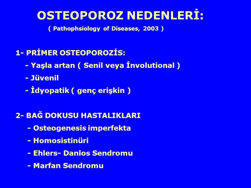 OSTEOPOROZ NEDENLERİ: ( Pathophsiology of Diseases, 2003 ) 1- PRİMER OSTEOPOROZİS: - Yaşla artan ( Senil veya İnvolutional ) - Jüvenil - İdyopatik ( g