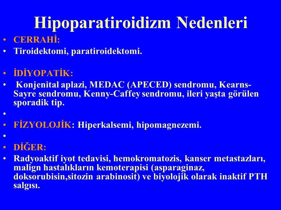 Hipoparatiroidizm Nedenleri CERRAHİ: Tiroidektomi, paratiroidektomi. İDİYOPATİK: Konjenital aplazi, MEDAC (APECED) sendromu, Kearns- Sayre sendromu, K