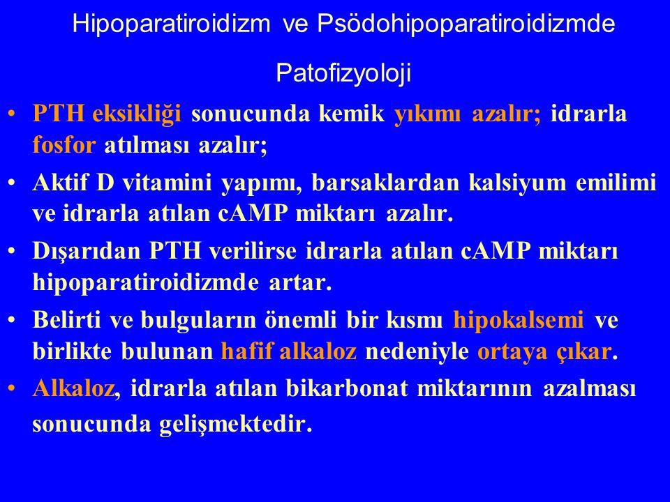 Hipoparatiroidizm ve Psödohipoparatiroidizmde Patofizyoloji PTH eksikliği sonucunda kemik yıkımı azalır; idrarla fosfor atılması azalır; Aktif D vitam