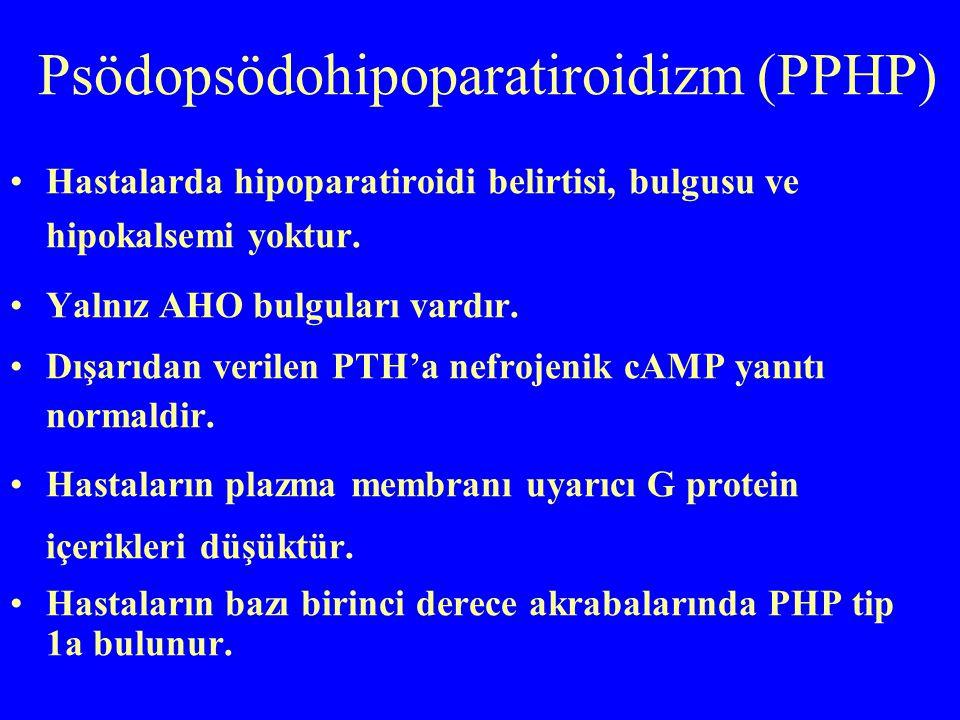 Psödopsödohipoparatiroidizm (PPHP) Hastalarda hipoparatiroidi belirtisi, bulgusu ve hipokalsemi yoktur. Yalnız AHO bulguları vardır. Dışarıdan verilen