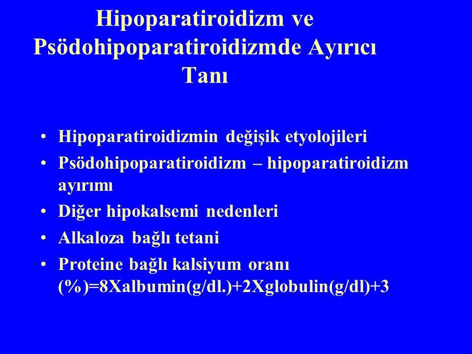 Hipoparatiroidizm ve Psödohipoparatiroidizmde Ayırıcı Tanı Hipoparatiroidizmin değişik etyolojileri Psödohipoparatiroidizm – hipoparatiroidizm ayırımı