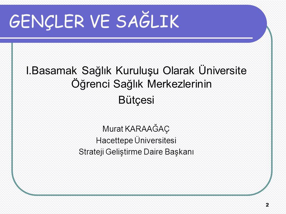 2 GENÇLER VE SAĞLIK I.Basamak Sağlık Kuruluşu Olarak Üniversite Öğrenci Sağlık Merkezlerinin Bütçesi Murat KARAAĞAÇ Hacettepe Üniversitesi Strateji Geliştirme Daire Başkanı