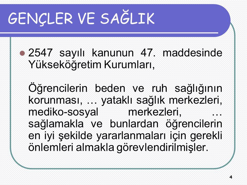 4 GENÇLER VE SAĞLIK 2547 sayılı kanunun 47.