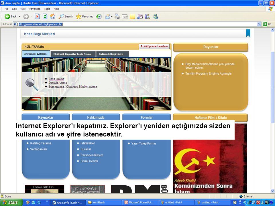 ********** Kullanıcı adı ve şifre bilgilerini öğrenmek için; 212 5336532 / 1147 numaralı telefonu arayabilir ya da kutuphane@khas.edu.tr adresinekutuphane@khas.edu.tr elektronik posta gönderebilirsiniz bliss.khas.edu.tr
