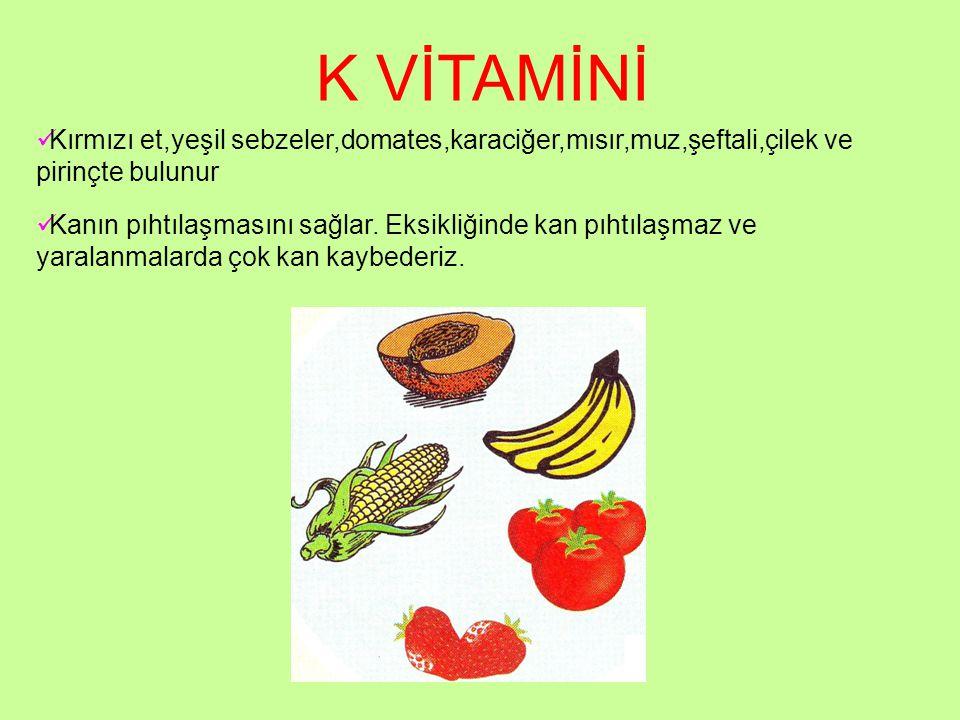 K VİTAMİNİ Kırmızı et,yeşil sebzeler,domates,karaciğer,mısır,muz,şeftali,çilek ve pirinçte bulunur Kanın pıhtılaşmasını sağlar. Eksikliğinde kan pıhtı