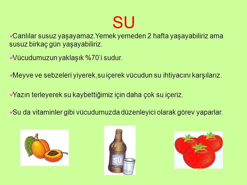 SU Canlılar susuz yaşayamaz.Yemek yemeden 2 hafta yaşayabiliriz ama susuz birkaç gün yaşayabiliriz. Vücudumuzun yaklaşık %70'i sudur. Meyve ve sebzele