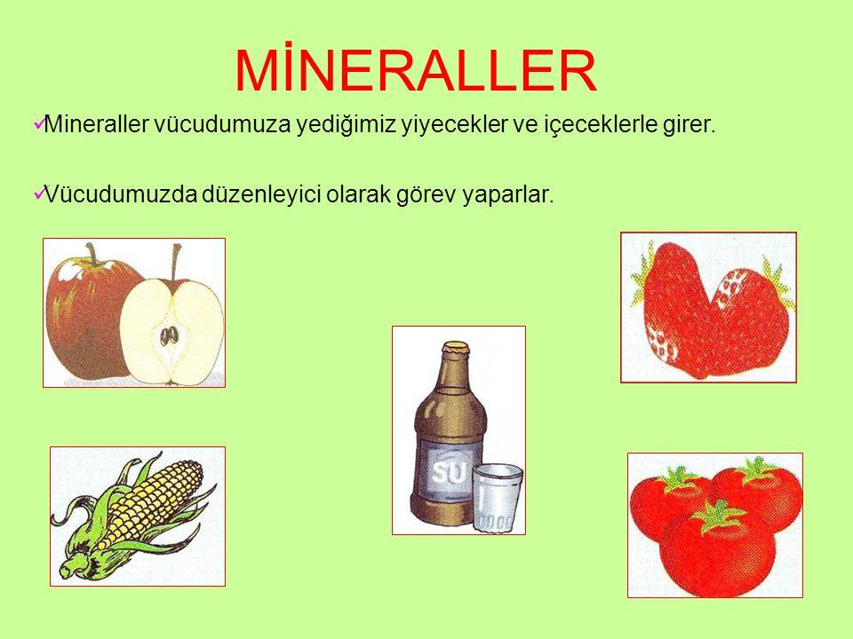 MİNERALLER Mineraller vücudumuza yediğimiz yiyecekler ve içeceklerle girer. Vücudumuzda düzenleyici olarak görev yaparlar.