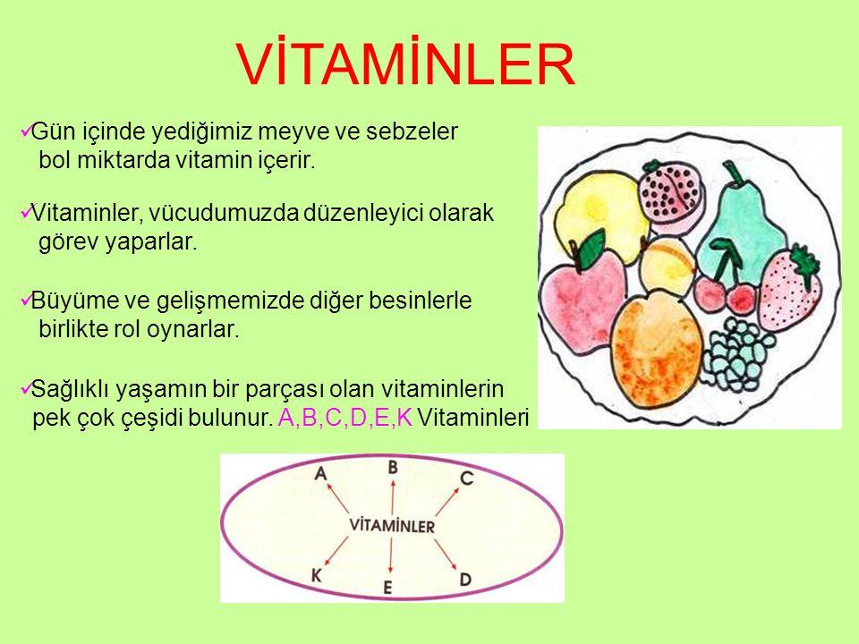 VİTAMİNLER Gün içinde yediğimiz meyve ve sebzeler bol miktarda vitamin içerir. Vitaminler, vücudumuzda düzenleyici olarak görev yaparlar. Büyüme ve ge