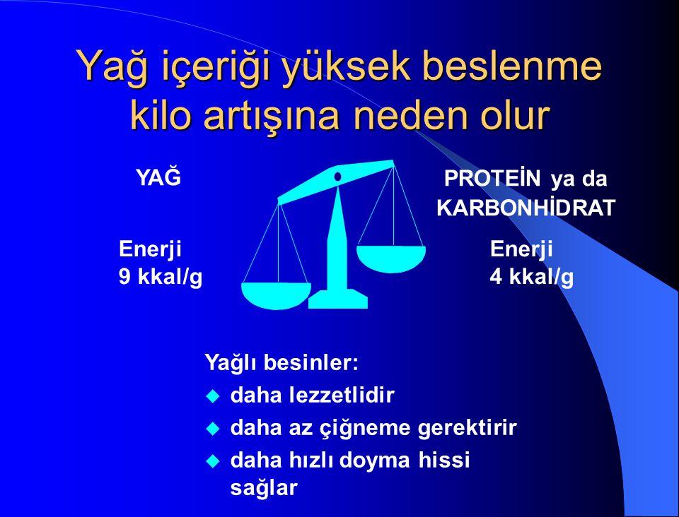 Yağ içeriği yüksek beslenme kilo artışına neden olur Yağlı besinler: u daha lezzetlidir u daha az çiğneme gerektirir u daha hızlı doyma hissi sağlar Y