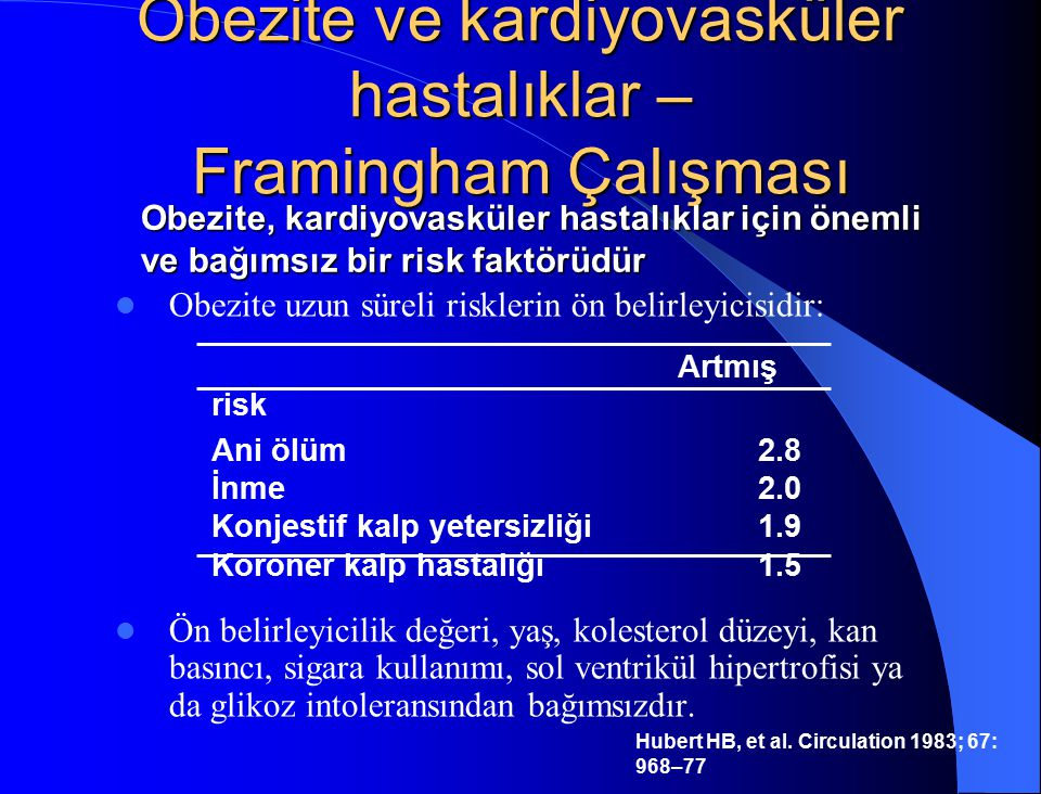Obezite ve kardiyovasküler hastalıklar – Framingham Çalışması Hubert HB, et al. Circulation 1983; 67: 968–77 Obezite uzun süreli risklerin ön belirley