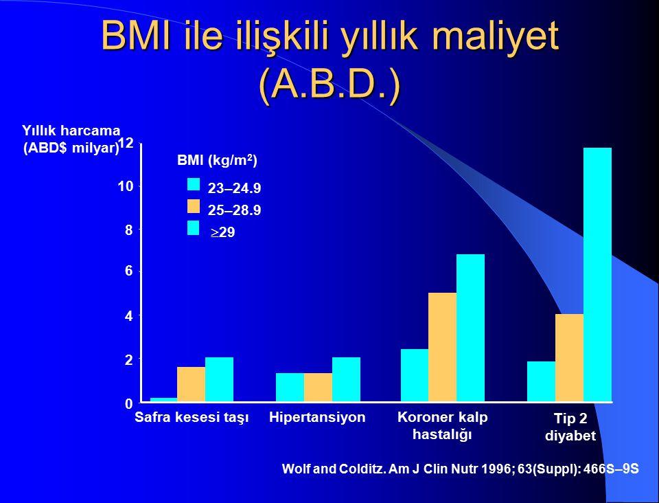 BMI ile ilişkili yıllık maliyet (A.B.D.) Wolf and Colditz. Am J Clin Nutr 1996; 63(Suppl): 466S –9S Yıllık harcama (ABD$ milyar) Safra kesesi taşıHipe