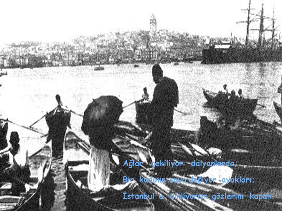 Ağlarçekiliyordalyanlarda; Birkadınınsuyadeğiyorayakları; İstanbul' udinliyorum,gözlerimkapalı.