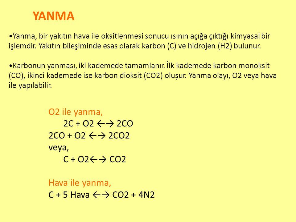 YANMA Yanma, bir yakıtın hava ile oksitlenmesi sonucu ısının açığa çıktığı kimyasal bir işlemdir. Yakıtın bileşiminde esas olarak karbon (C) ve hidroj