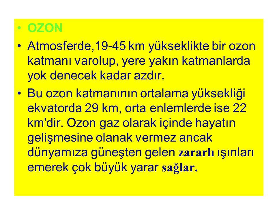 OZON Atmosferde,19-45 km yükseklikte bir ozon katmanı varolup, yere yakın katmanlarda yok denecek kadar azdır.