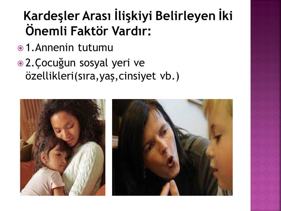 Kardeşler Arası İlişkiyi Belirleyen İki Önemli Faktör Vardır:  1.Annenin tutumu  2.Çocuğun sosyal yeri ve özellikleri(sıra,yaş,cinsiyet vb.)