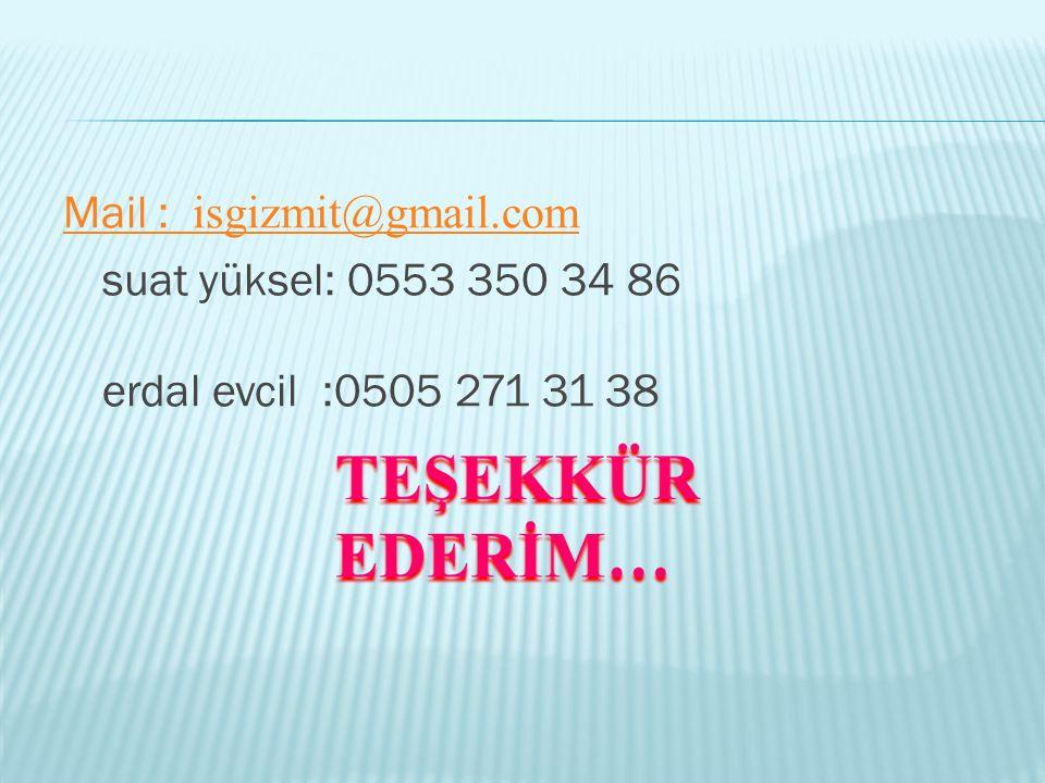 Mail : isgizmit@gmail.com suat yüksel: 0553 350 34 86 erdal evcil :0505 271 31 38