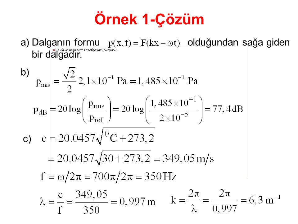 a)Dalganın formu olduğundan sağa giden bir dalgadır. b) Örnek 1-Çözüm c)