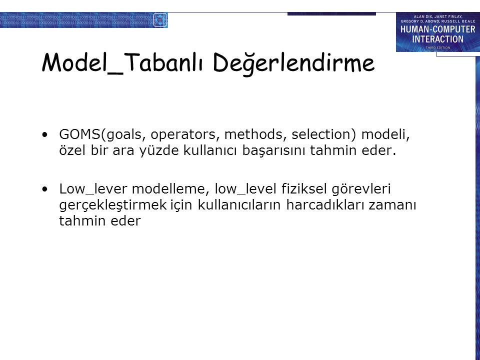 Model_Tabanlı Değerlendirme GOMS(goals, operators, methods, selection) modeli, özel bir ara yüzde kullanıcı başarısını tahmin eder.