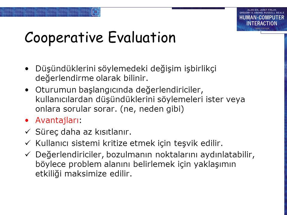 Cooperative Evaluation Düşündüklerini söylemedeki değişim işbirlikçi değerlendirme olarak bilinir.