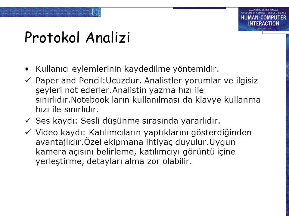 Protokol Analizi Kullanıcı eylemlerinin kaydedilme yöntemidir.
