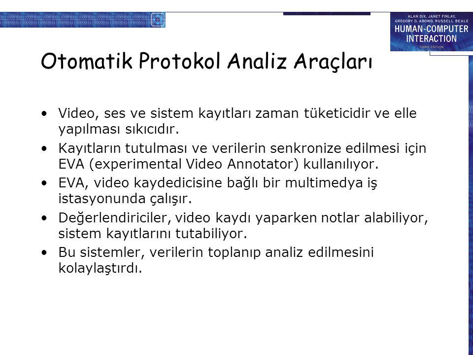 Otomatik Protokol Analiz Araçları Video, ses ve sistem kayıtları zaman tüketicidir ve elle yapılması sıkıcıdır.