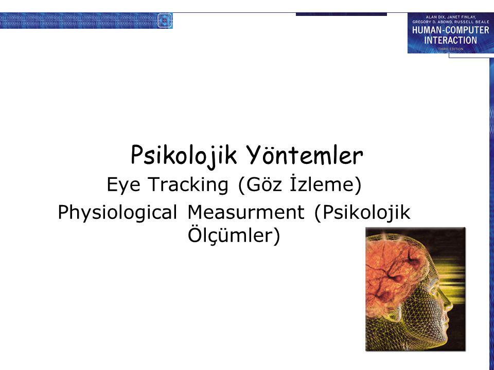 Psikolojik Yöntemler Eye Tracking (Göz İzleme) Physiological Measurment (Psikolojik Ölçümler)