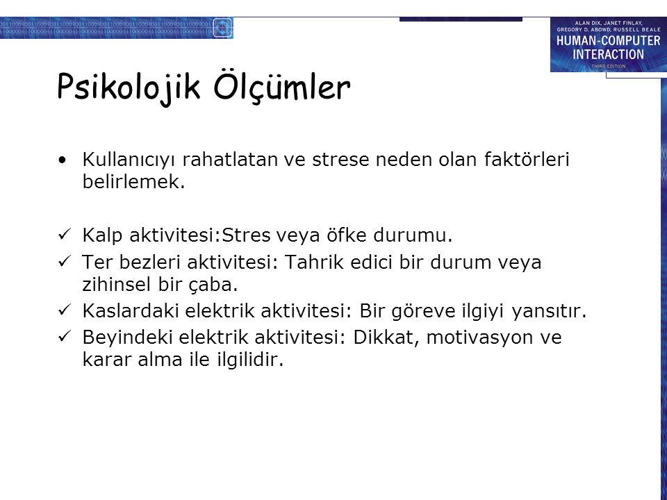 Psikolojik Ölçümler Kullanıcıyı rahatlatan ve strese neden olan faktörleri belirlemek.
