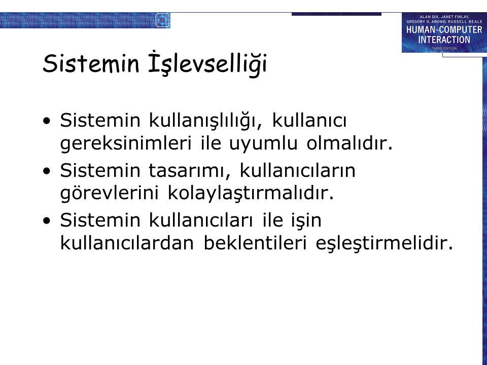 Sistemin İşlevselliği Sistemin kullanışlılığı, kullanıcı gereksinimleri ile uyumlu olmalıdır.