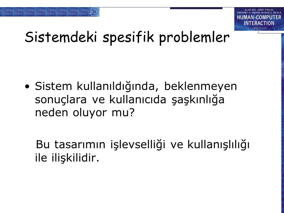 Sistemdeki spesifik problemler Sistem kullanıldığında, beklenmeyen sonuçlara ve kullanıcıda şaşkınlığa neden oluyor mu.