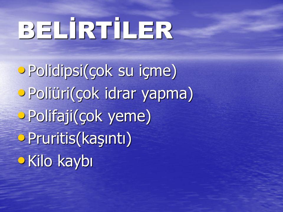 BELİRTİLER Polidipsi(çok su içme) Polidipsi(çok su içme) Poliüri(çok idrar yapma) Poliüri(çok idrar yapma) Polifaji(çok yeme) Polifaji(çok yeme) Pruritis(kaşıntı) Pruritis(kaşıntı) Kilo kaybı Kilo kaybı