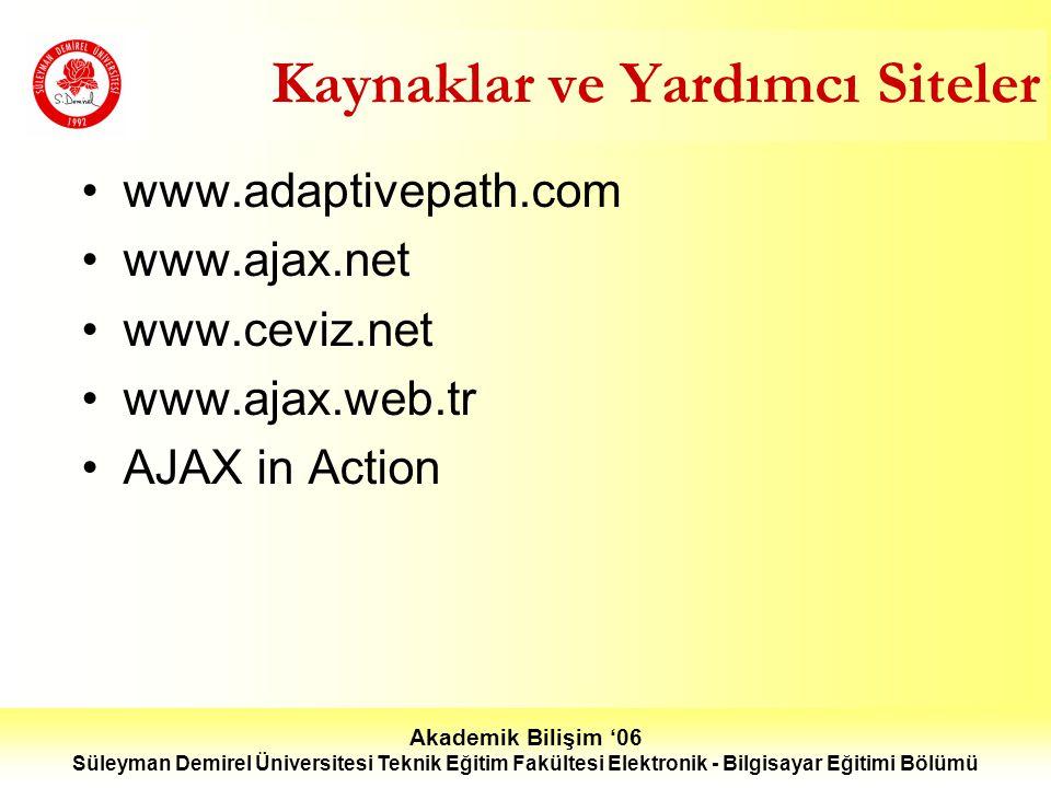 Akademik Bilişim '06 Süleyman Demirel Üniversitesi Teknik Eğitim Fakültesi Elektronik - Bilgisayar Eğitimi Bölümü Kaynaklar ve Yardımcı Siteler www.adaptivepath.com www.ajax.net www.ceviz.net www.ajax.web.tr AJAX in Action