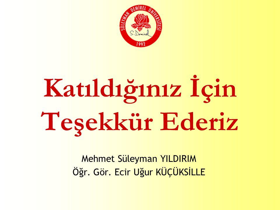 Katıldığınız İçin Teşekkür Ederiz Mehmet Süleyman YILDIRIM Öğr. Gör. Ecir Uğur KÜÇÜKSİLLE