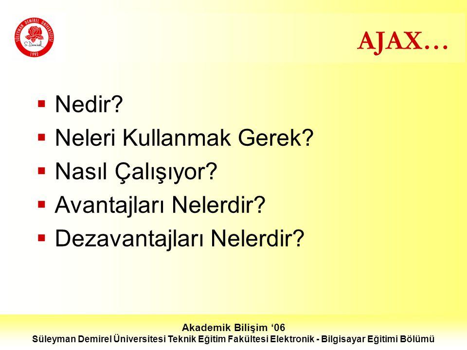 Süleyman Demirel Üniversitesi Teknik Eğitim Fakültesi Elektronik - Bilgisayar Eğitimi Bölümü AJAX…  Nedir.