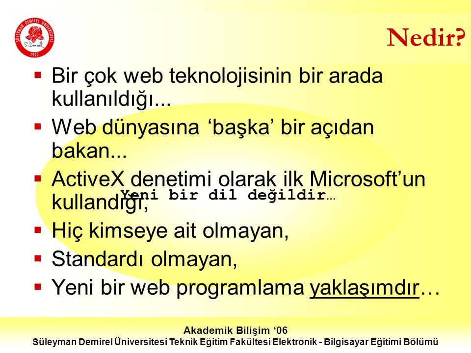 Akademik Bilişim '06 Süleyman Demirel Üniversitesi Teknik Eğitim Fakültesi Elektronik - Bilgisayar Eğitimi Bölümü Nedir.