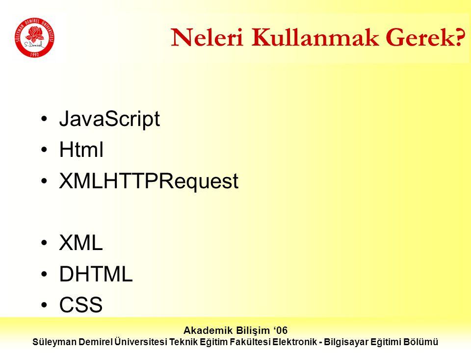 Akademik Bilişim '06 Süleyman Demirel Üniversitesi Teknik Eğitim Fakültesi Elektronik - Bilgisayar Eğitimi Bölümü Neleri Kullanmak Gerek.