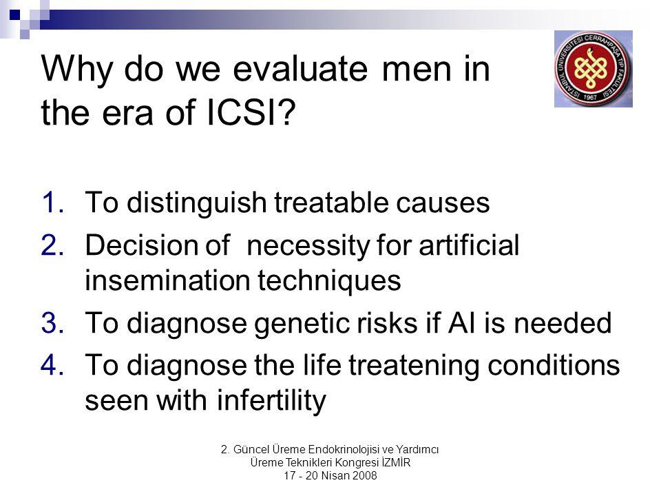 2. Güncel Üreme Endokrinolojisi ve Yardımcı Üreme Teknikleri Kongresi İZMİR 17 - 20 Nisan 2008 Why do we evaluate men in the era of ICSI? 1.To disting