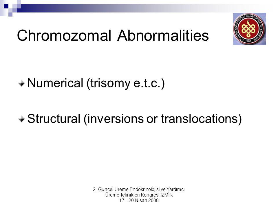 2. Güncel Üreme Endokrinolojisi ve Yardımcı Üreme Teknikleri Kongresi İZMİR 17 - 20 Nisan 2008 Chromozomal Abnormalities Numerical (trisomy e.t.c.) St