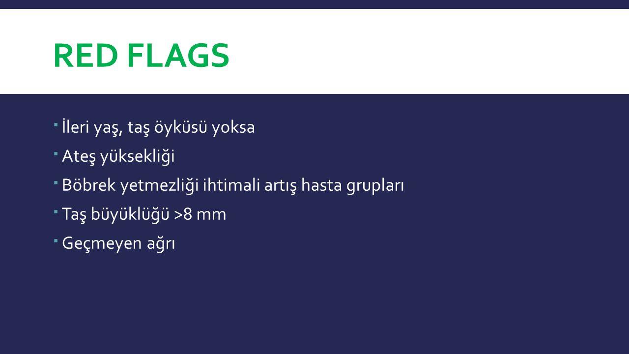 RED FLAGS  İleri yaş, taş öyküsü yoksa  Ateş yüksekliği  Böbrek yetmezliği ihtimali artış hasta grupları  Taş büyüklüğü >8 mm  Geçmeyen ağrı