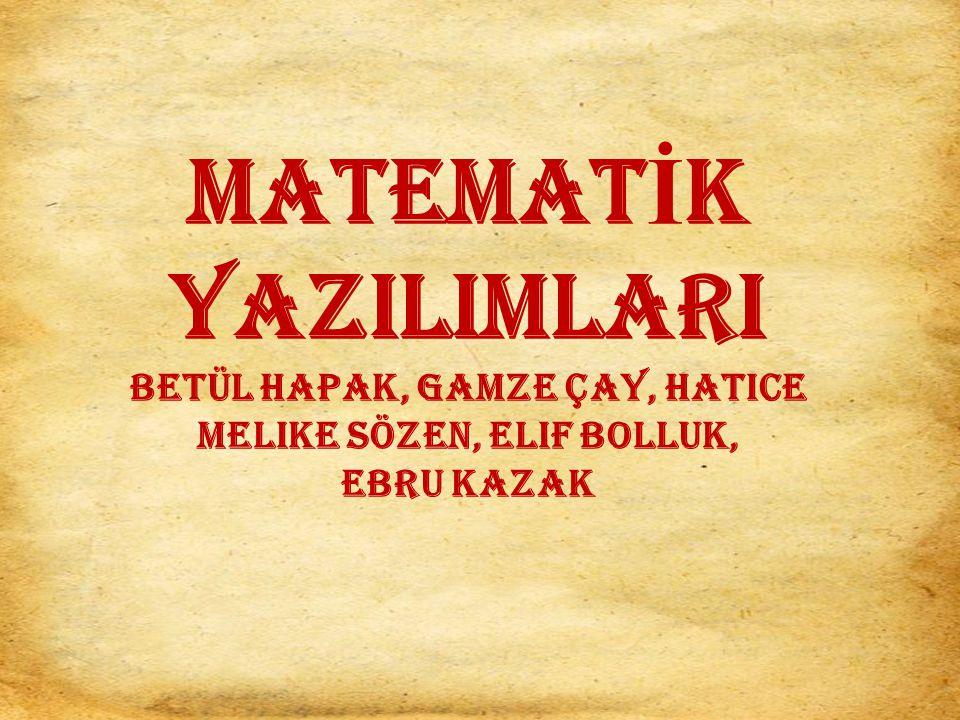 MATEMAT İ K YAZILIMLARI Betül Hapak, Gamze Çay, Hatice Melike Sözen, Elif Bolluk, Ebru Kazak